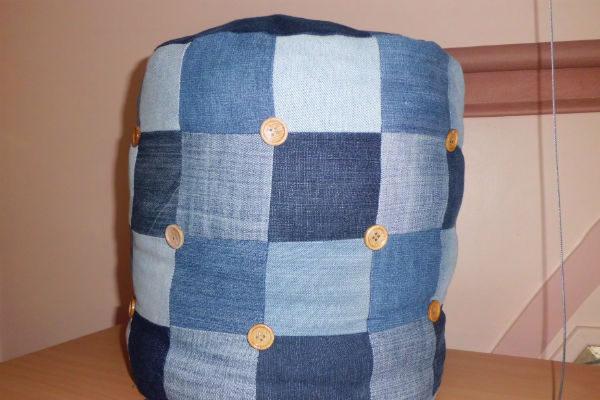 Pouf patchwork bouton